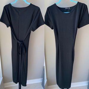 BooHoo black scoop neck black dress size 14